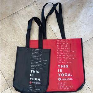 1 red large & 1 black small lulu bag